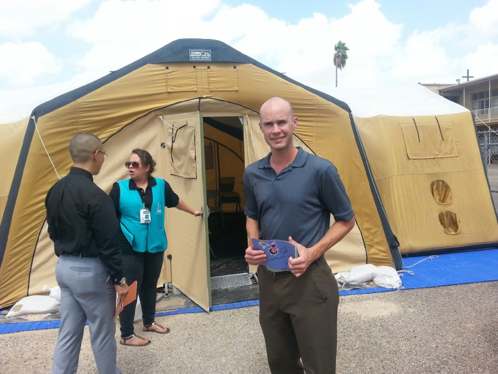 NJFON Executive DIrector Rob Rutland-Brown visits the temporary holding facility for unaccompanied migrant children at McAllen, Texas in August, 2014.