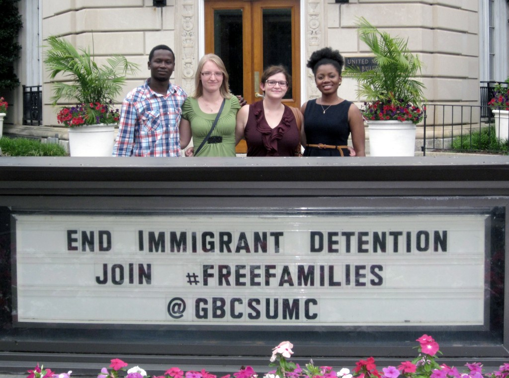 Our Micah Corps interns--Elysee, Amy, Ella and Ama-- outside the Methodist Building in Washington, D.C.