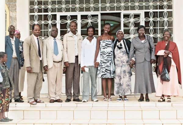 Friends and family members outside the church where Isaac and Audrey were married.