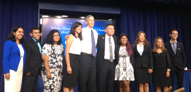 Luis with Secretary of Education Arne Duncan and his fellow DACAmented Champions of Change at the White House ceremony. Photo courtesy of the White House.