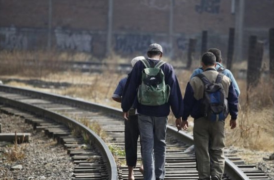 Unaccompanied Minors–Central American teenagers– follow the train tracks in Mexico to safety in the United States. Photo courtesy AP.