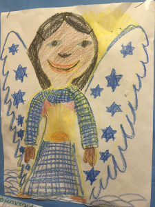 A drawing from a child that hangs in Sacred Heart Humanitarian Welcome Center. Photo: Jen Smyers / CWS